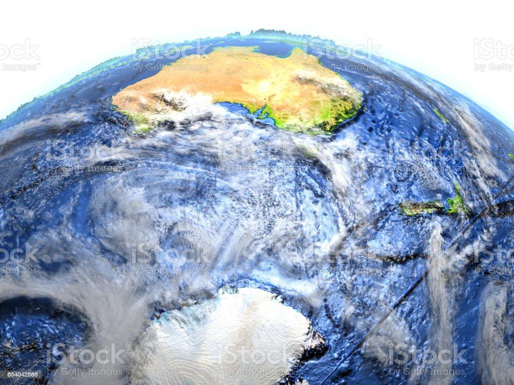Southern Ocean on Earth - visible ocean floor vector art illustration
