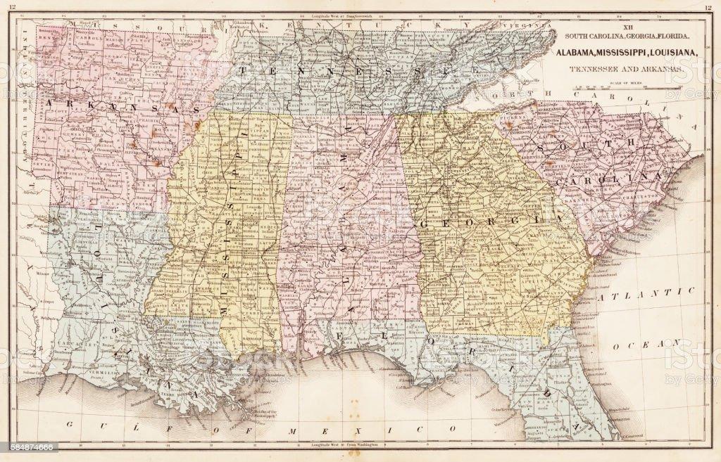 USA Southern States 1867 vector art illustration