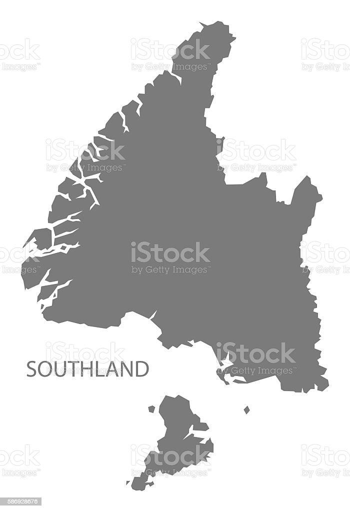 Southland New Zealand Map grey vector art illustration