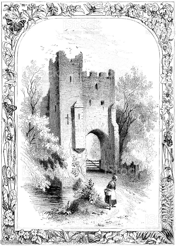 South-Western Tower and Gateway, Loch Leven Castle (Victorian illustration) royalty-free stock vector art