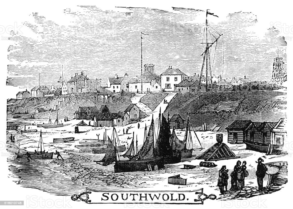 Southwold - Victorian engraving vector art illustration