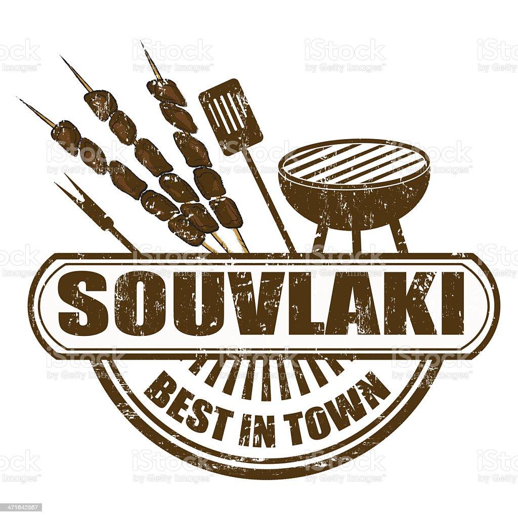 Souvlaki stamp royalty-free stock vector art