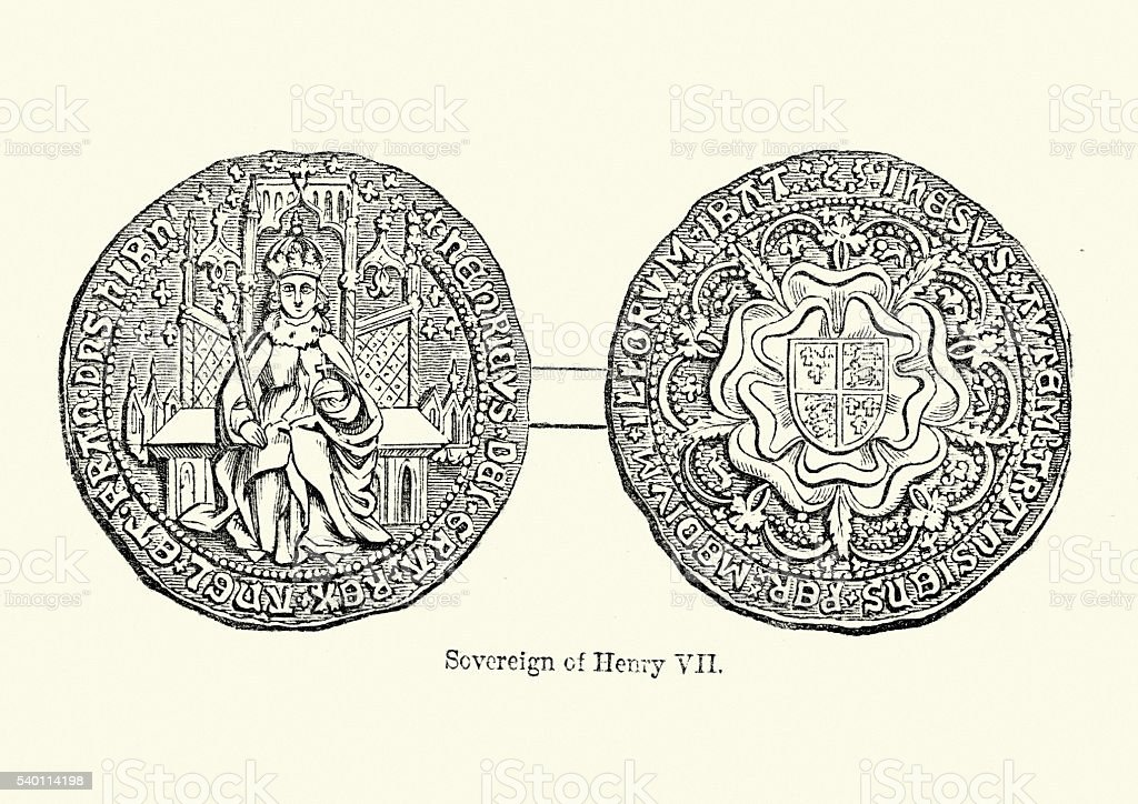 Sovereign coin from the reign of King Henry VII vector art illustration