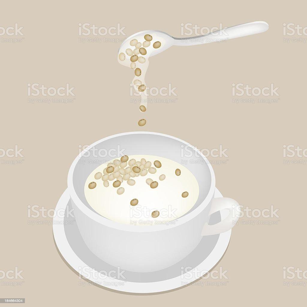Soy Bean Sweet Dessert with Coconut Milk vector art illustration