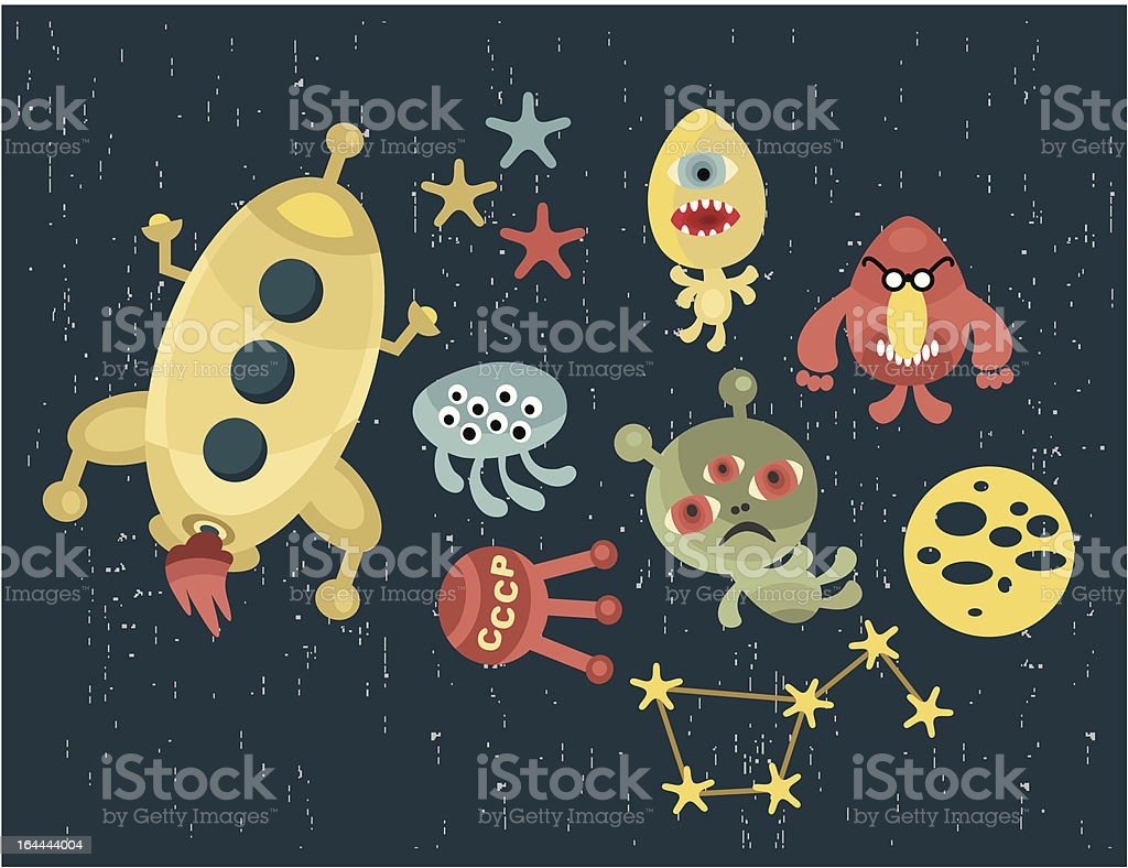 Space and aliens cartoon characters. royalty-free stock vector art