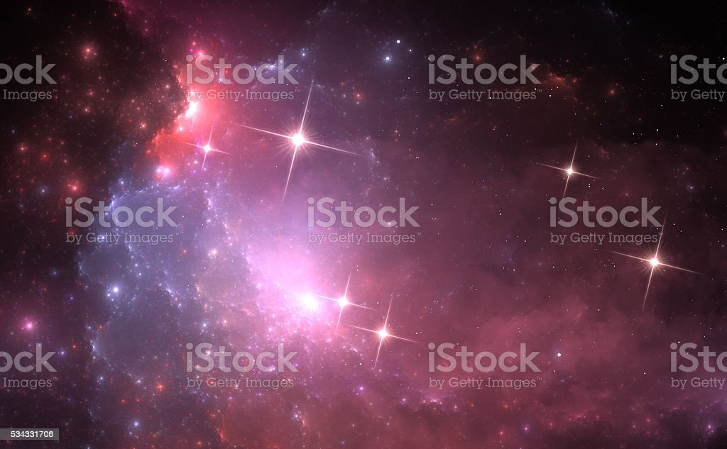 Space background with purple nebula and stars vector art illustration