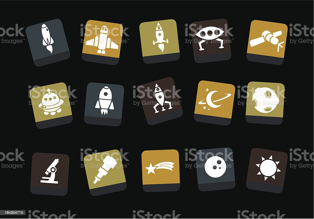 Space icon set royalty-free stock vector art