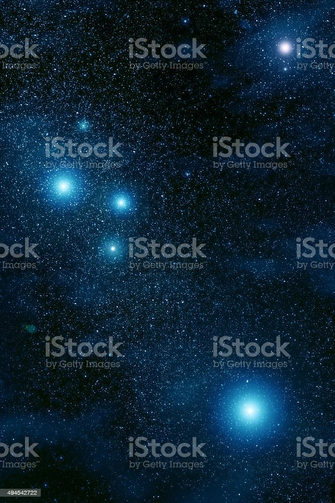 Space. Night sky with stars and nebula vector art illustration