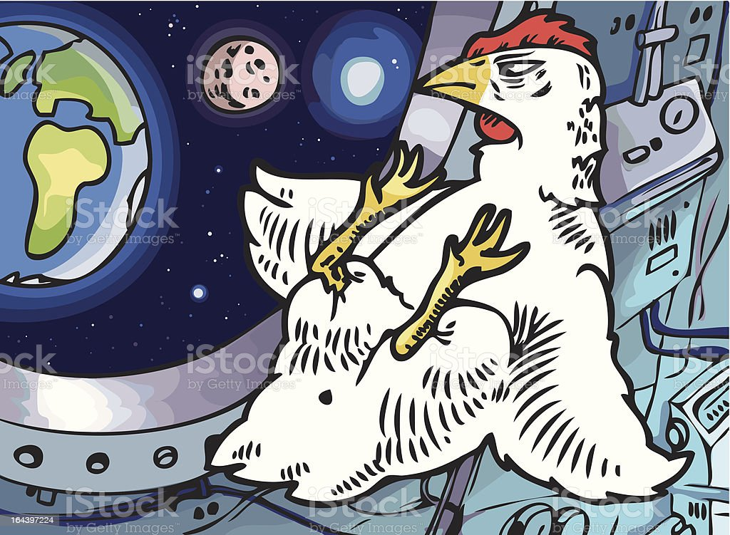 Space-chicken royalty-free stock vector art