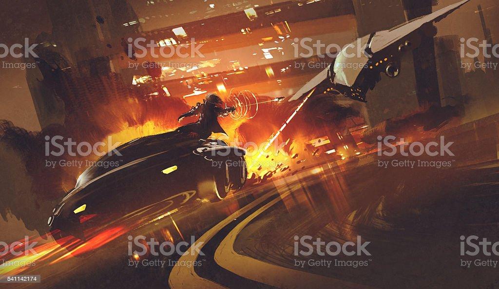 spacecraft chasing futuristic car on highway vector art illustration