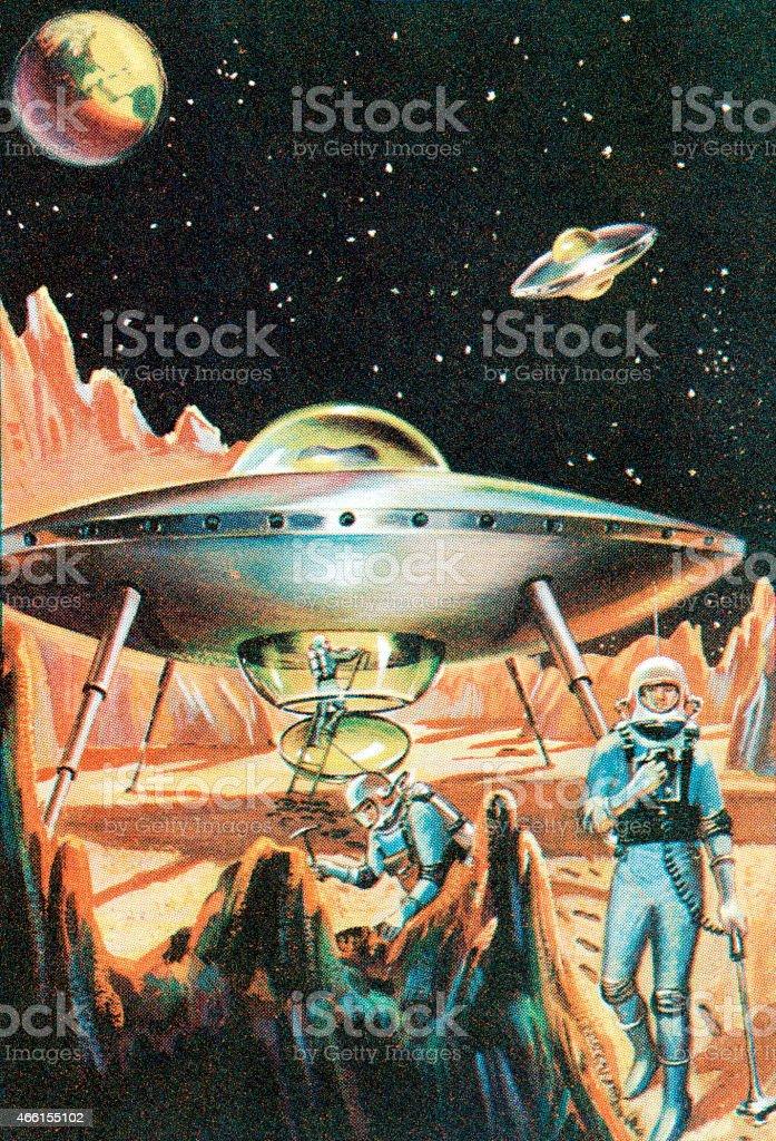 Spaceship vector art illustration