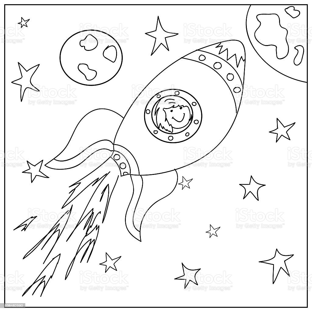 Spaceship kids Coloring  Page vector art illustration