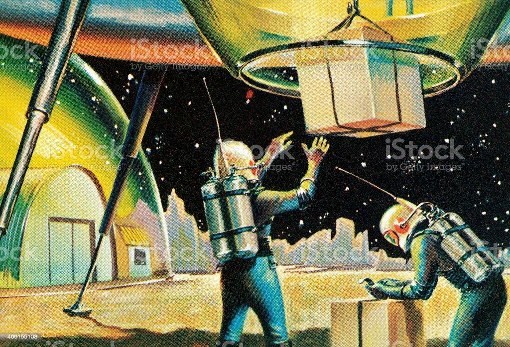 Spaceship landing vector art illustration