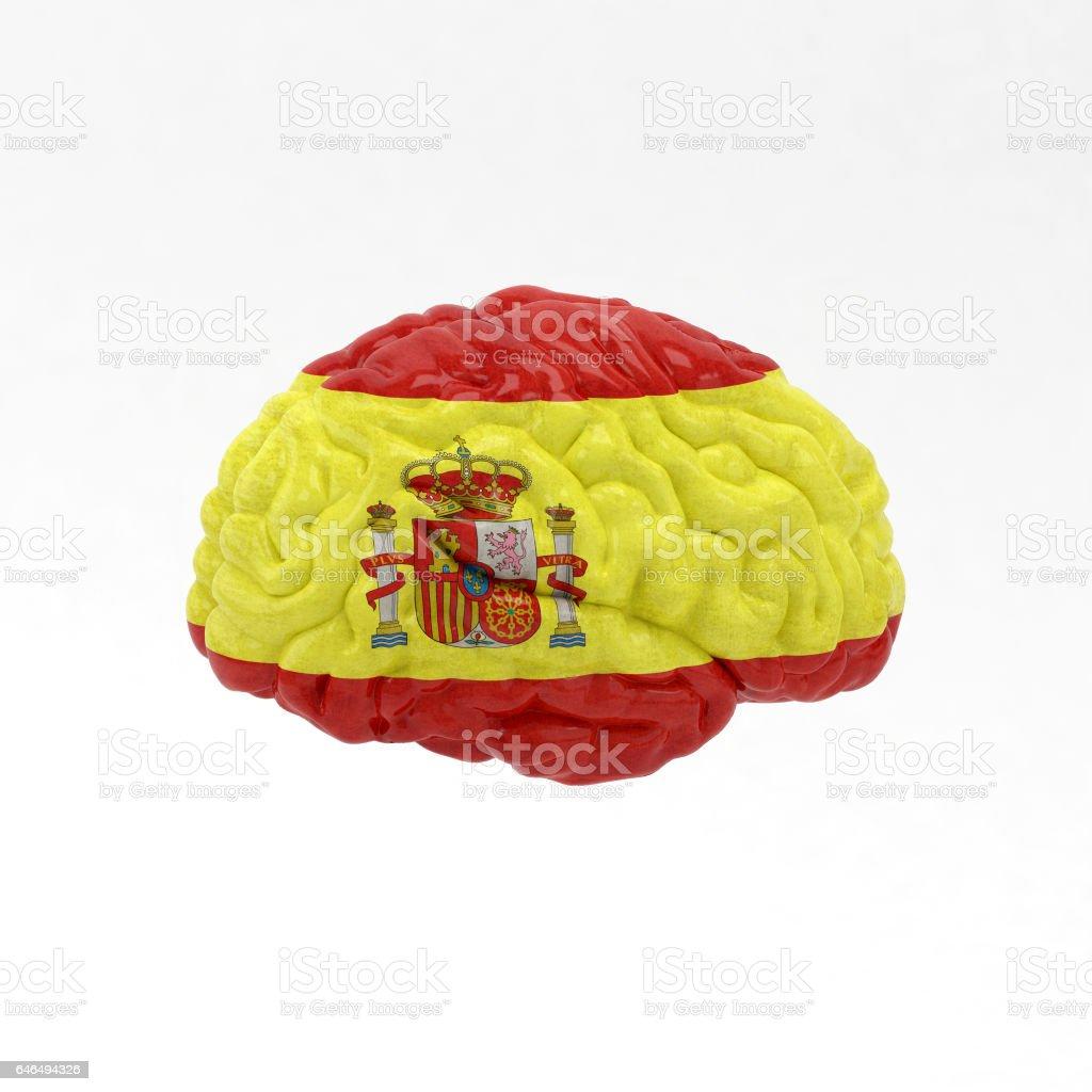 Spain. Flag on Human brain. 3D illustration. vector art illustration