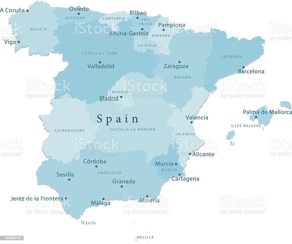 Spain Vector Map Regions Isolated royalty-free stock vector art