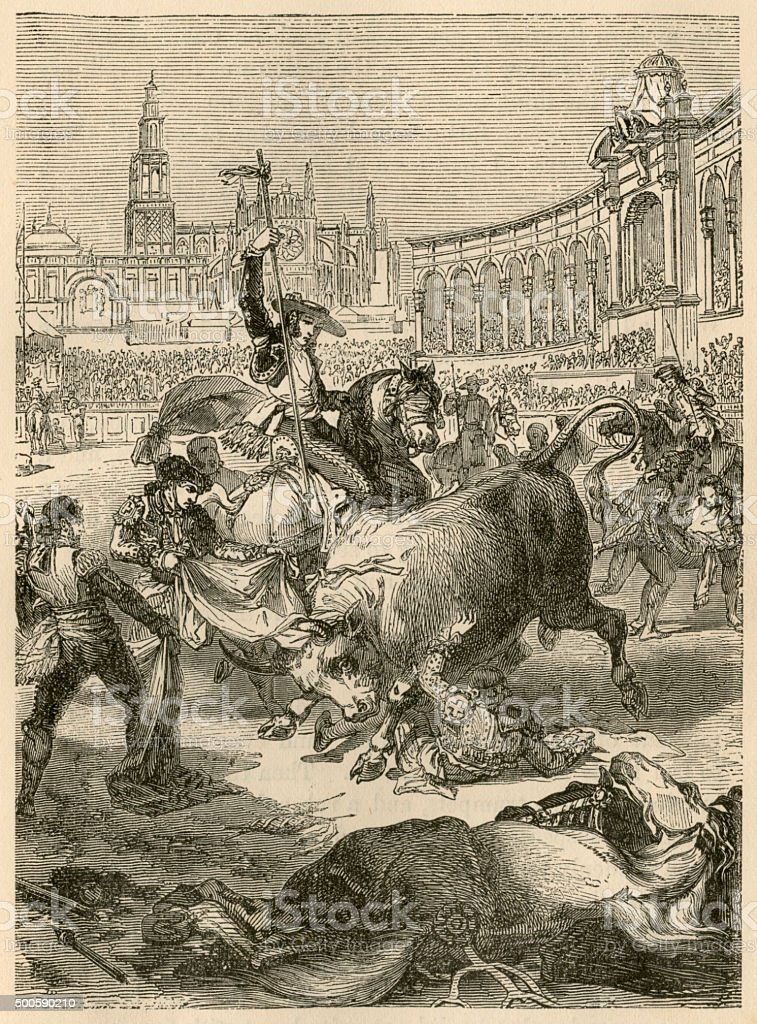 Spanish bull fight - 19th century engraving, 1865 vector art illustration