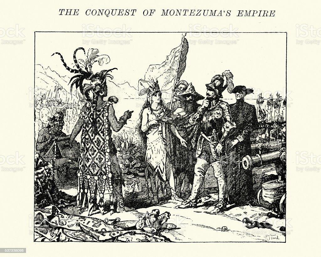Spanish conquistadors meeting the Aztecs vector art illustration