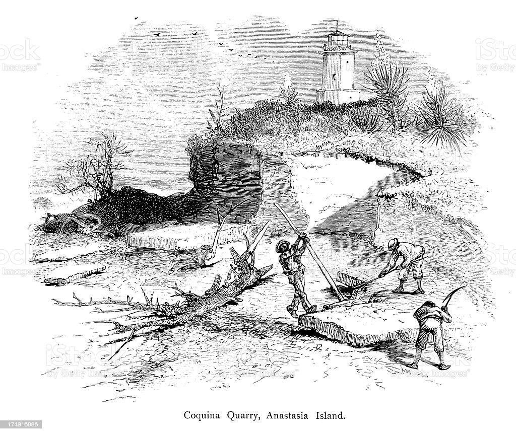Spanish Coquina Quarries, Florida vector art illustration