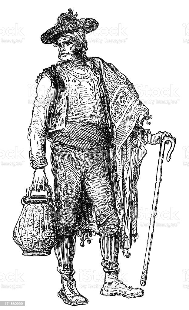 Spanish Peasant vector art illustration