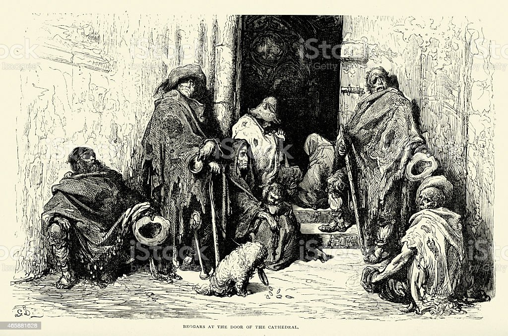 Spanish Pictures - Beggars at the Door of the Cathedral vector art illustration