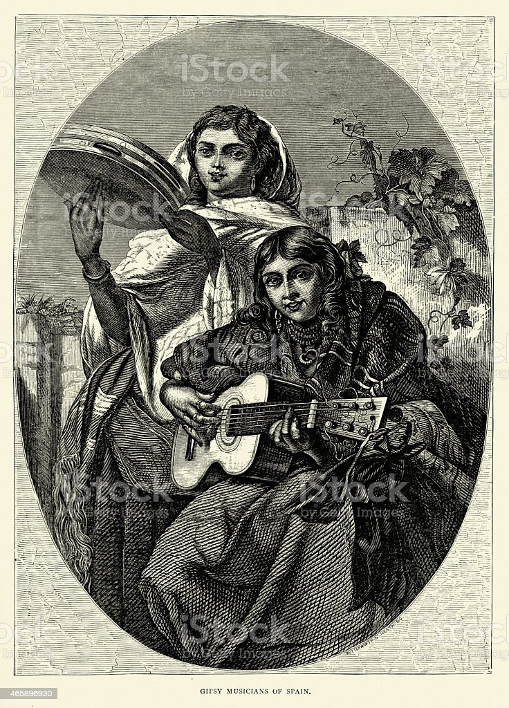 Spanish Pictures - Gypsy musicians playing the guitar vector art illustration