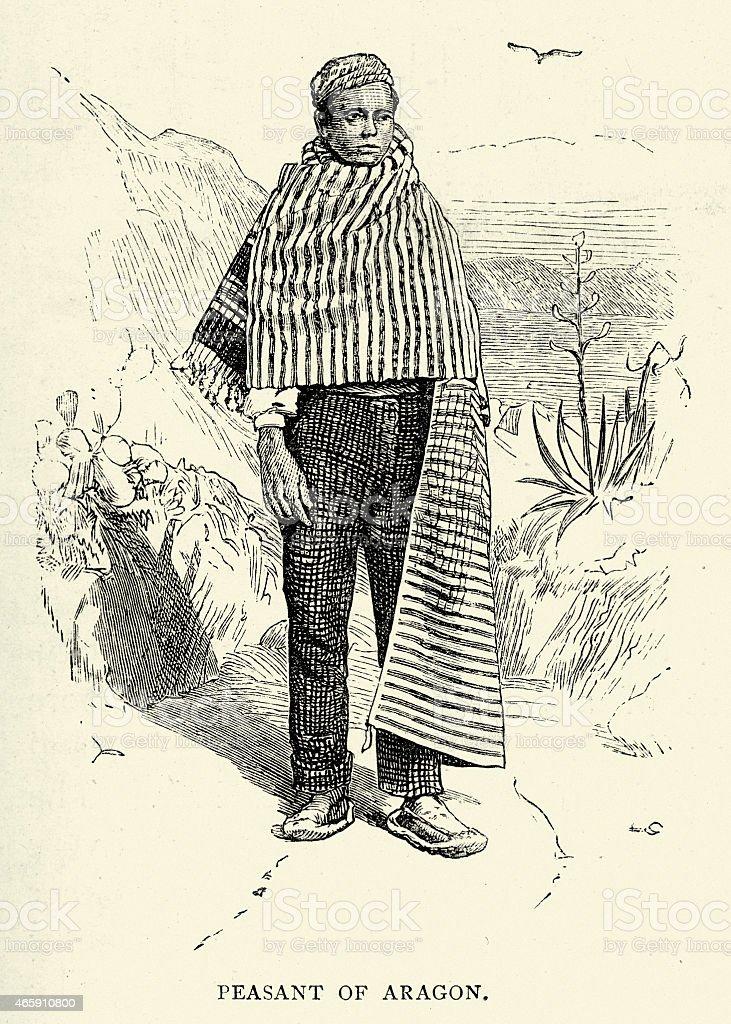 Spanish Pictures - Peasant of Aragon vector art illustration