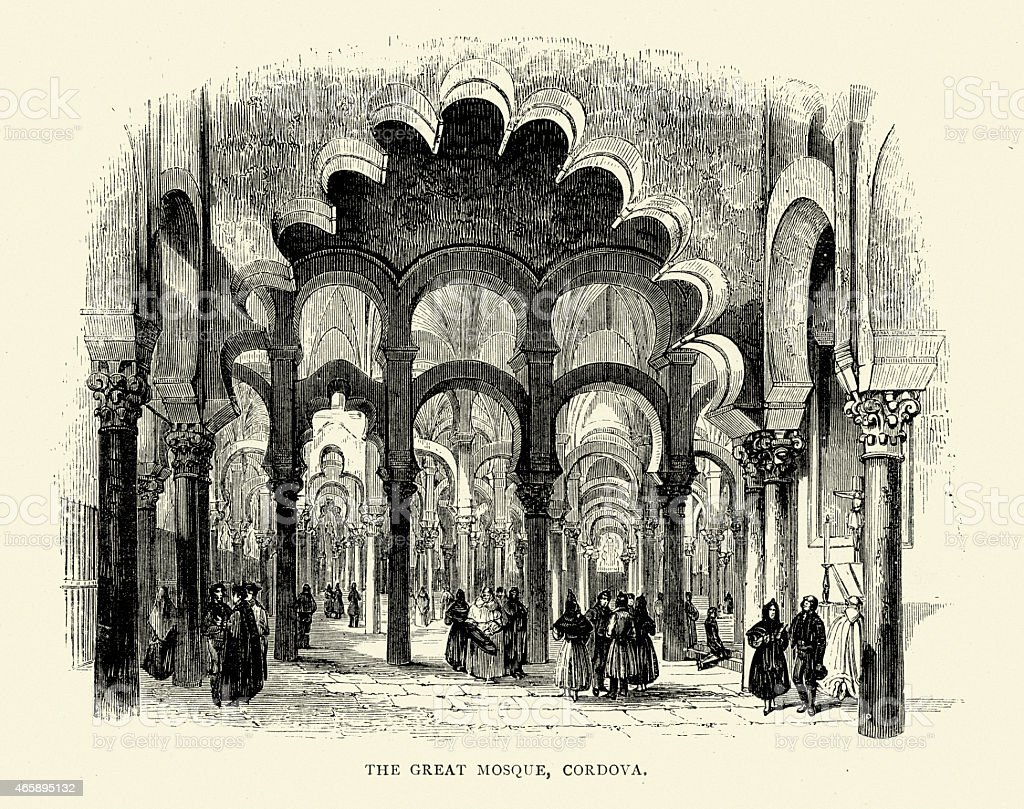 Spanish Pictures - The Great Mosque of Cordoba vector art illustration