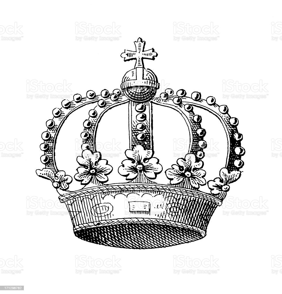 Spanish Royal Crown | Historic Symbols of Monarchy and Rank royalty-free stock vector art