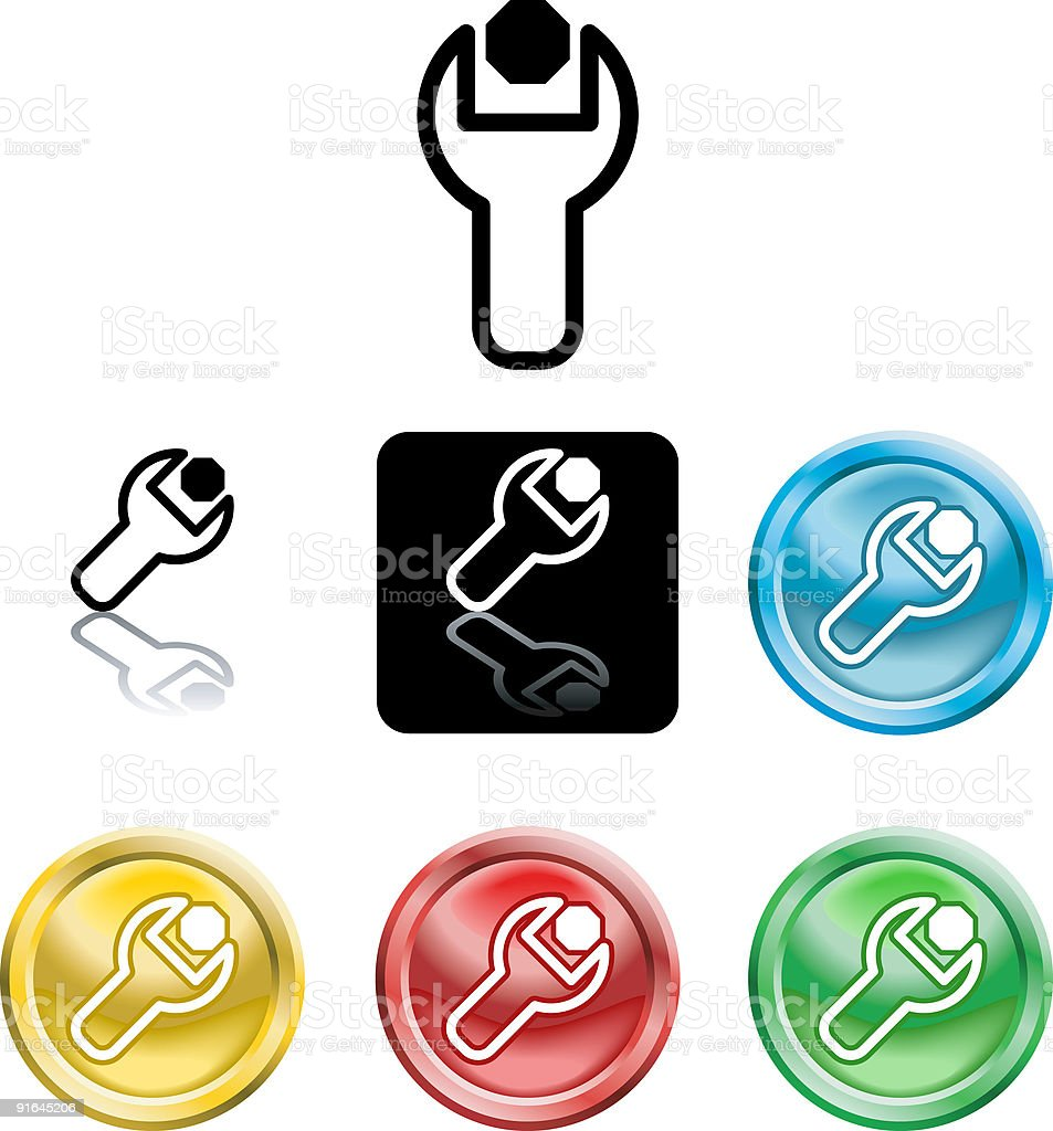Spanner and nut icon symbol royalty-free stock vector art