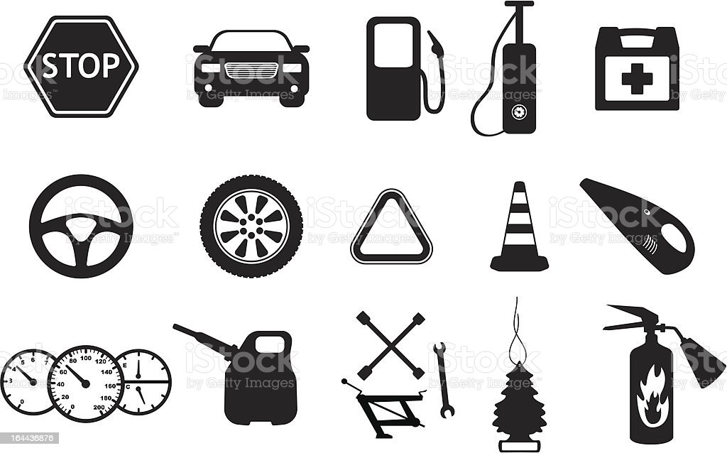 Spare parts and accesories for car vector art illustration