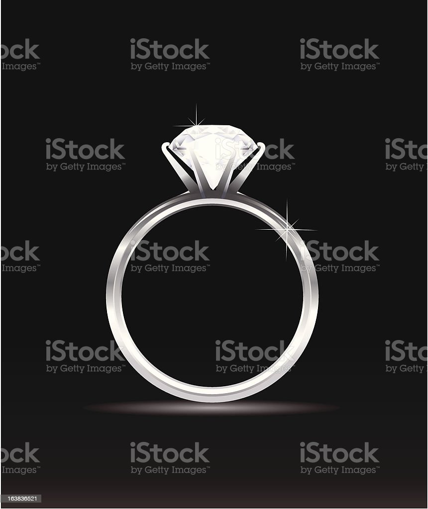 Sparkling diamond ring on black background vector art illustration