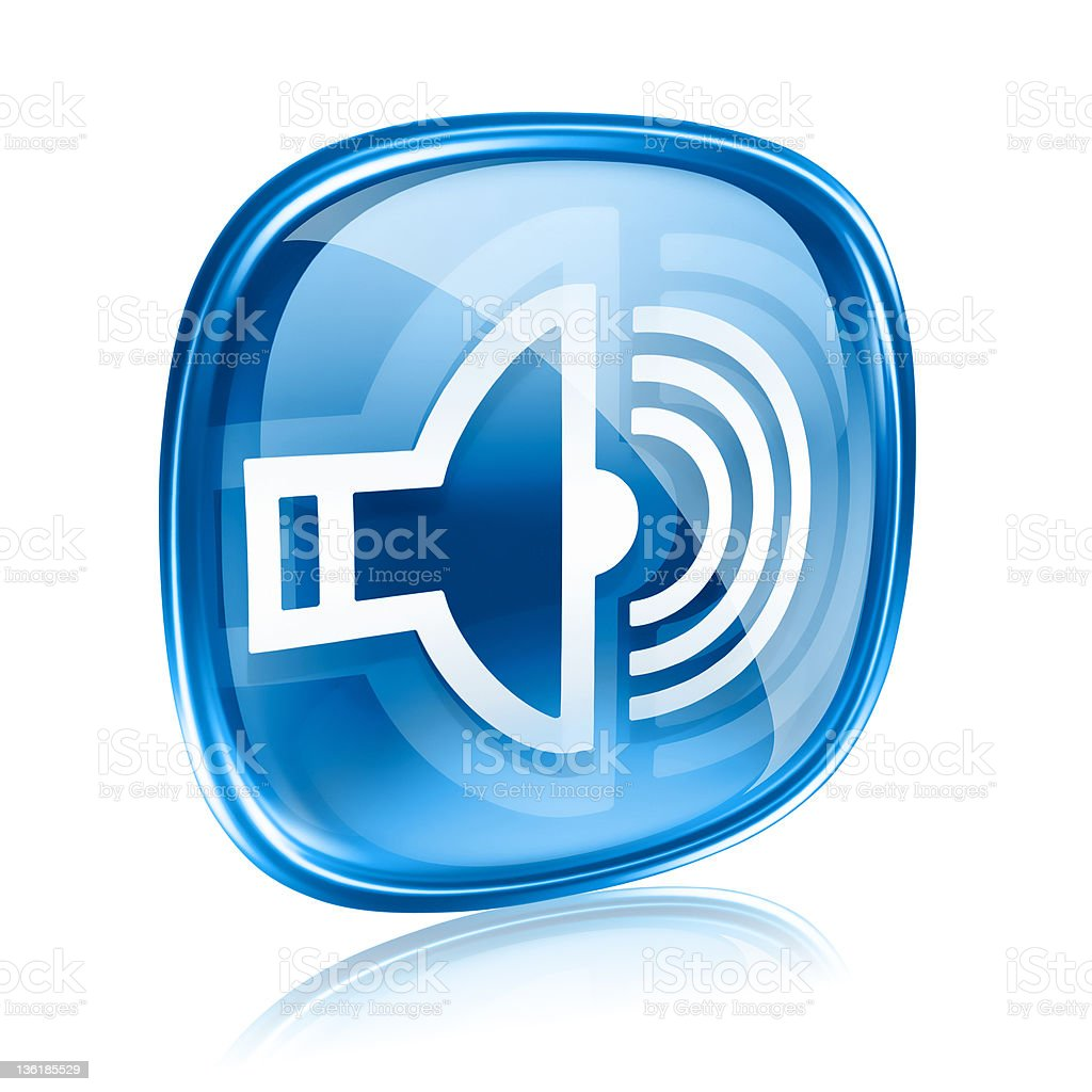 speaker icon blue glass, isolated on white background. royalty-free stock vector art