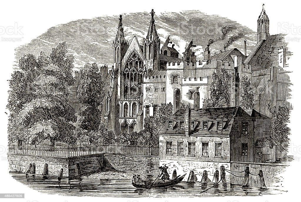 Speaker's house from the River Thames, 1830 vector art illustration