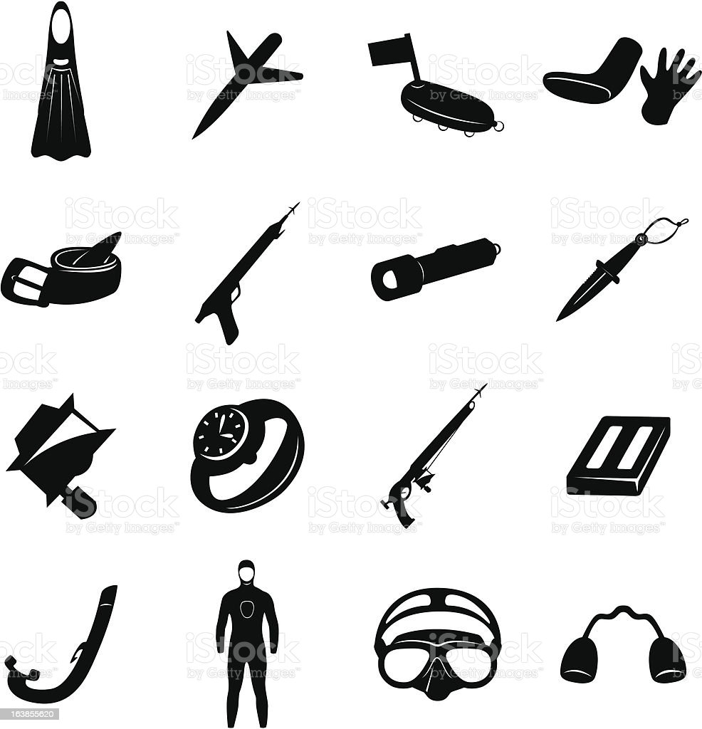 spearfishing Icons vector art illustration