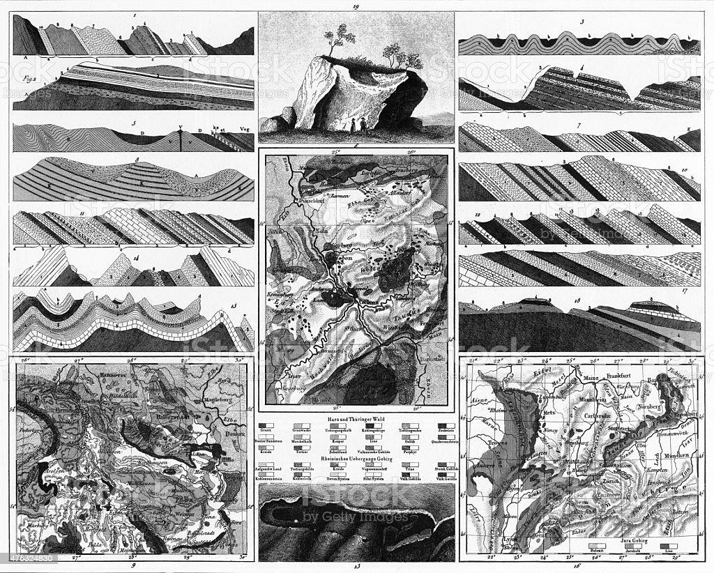 Special Geology Engraving vector art illustration