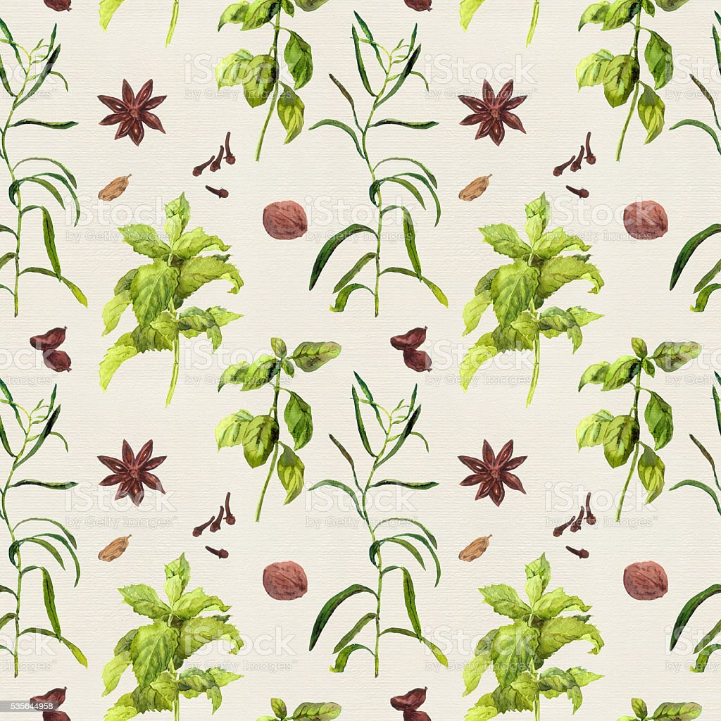 Especies hierbas de cocina repetir acuarela papel tapiz - Papel para cocinar ...