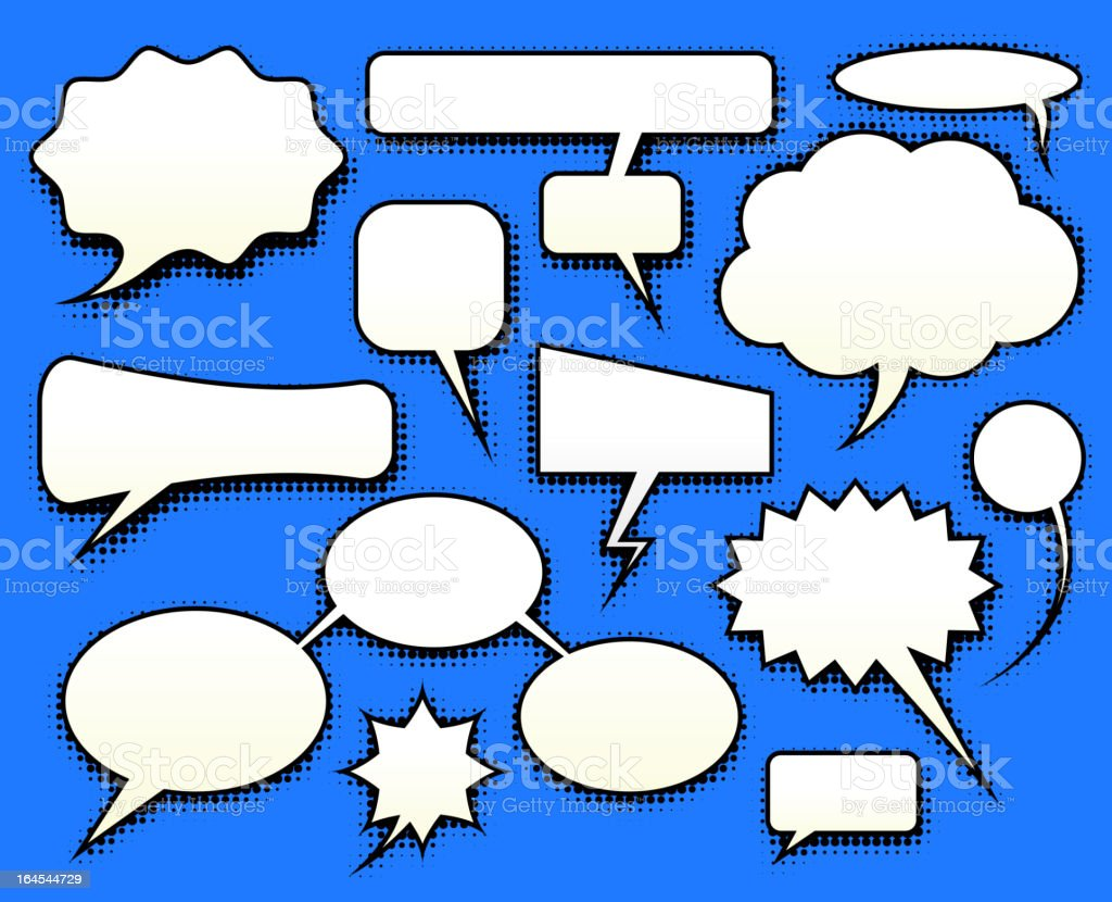 speech bubbles dialog balloons with halftone pattern shadows royalty-free stock vector art