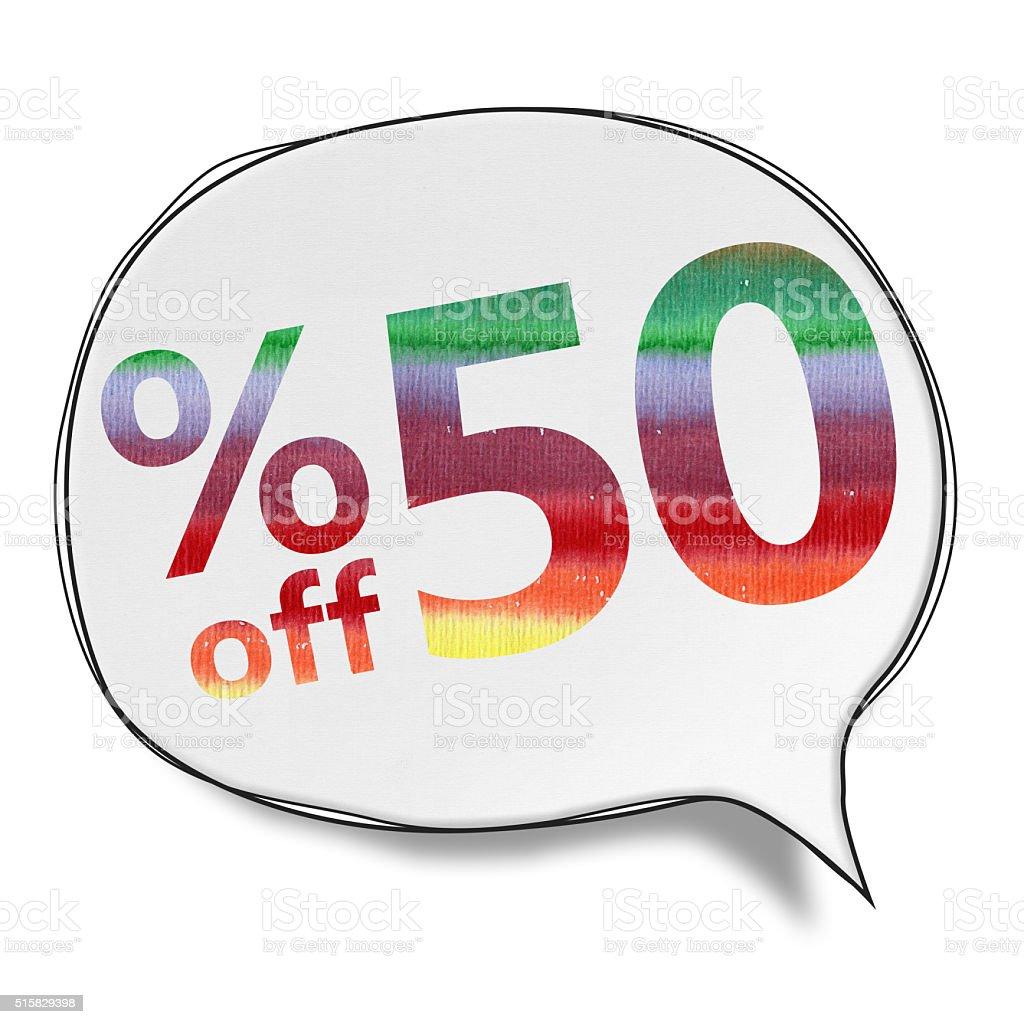 50% OFF Speech Bubbles (Clipping Path) vector art illustration
