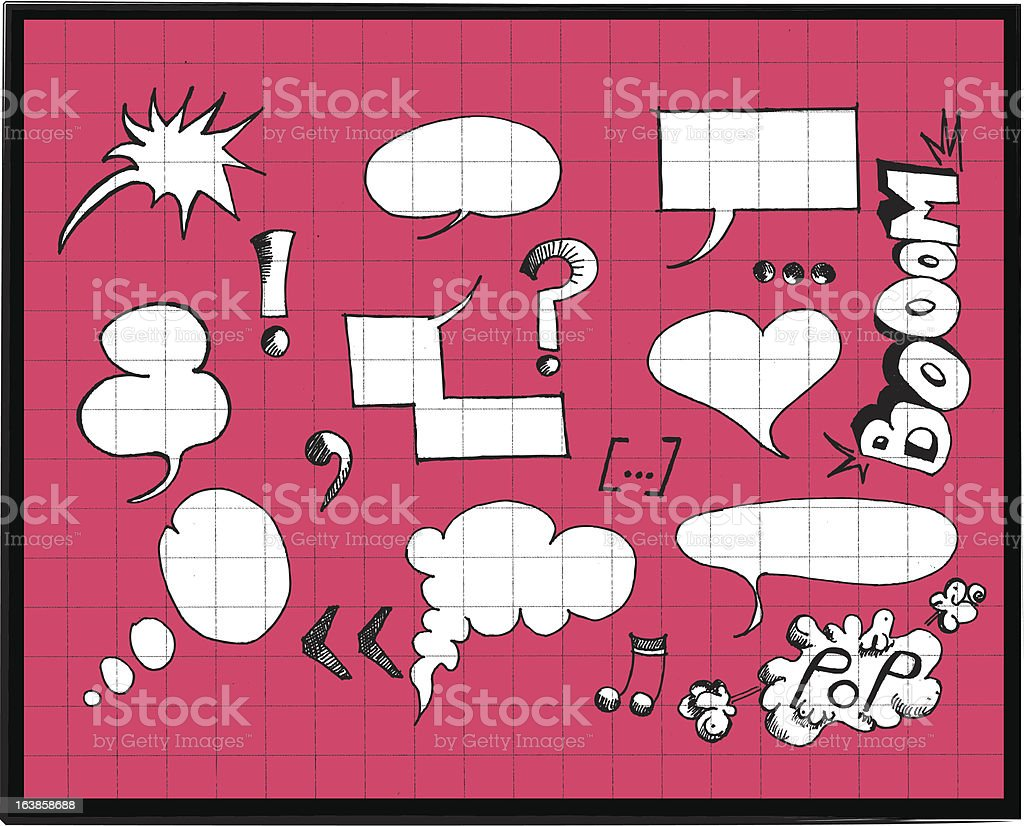 Speech Bubbles set and onomatopoeias royalty-free stock vector art