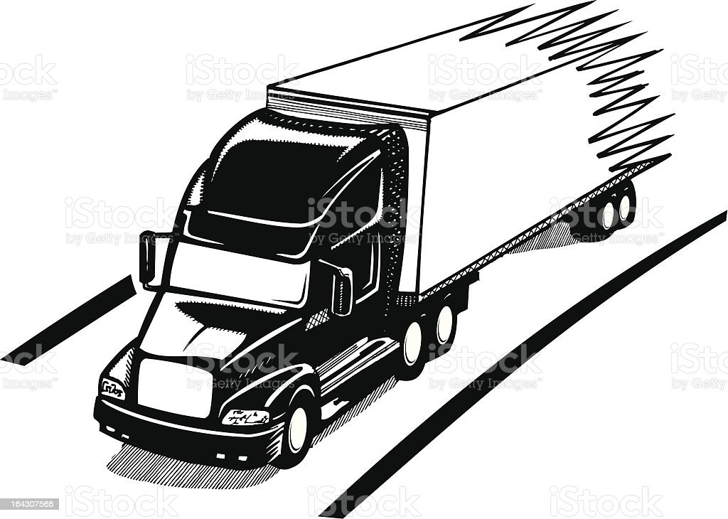 Speed: Black and white truck vector art illustration