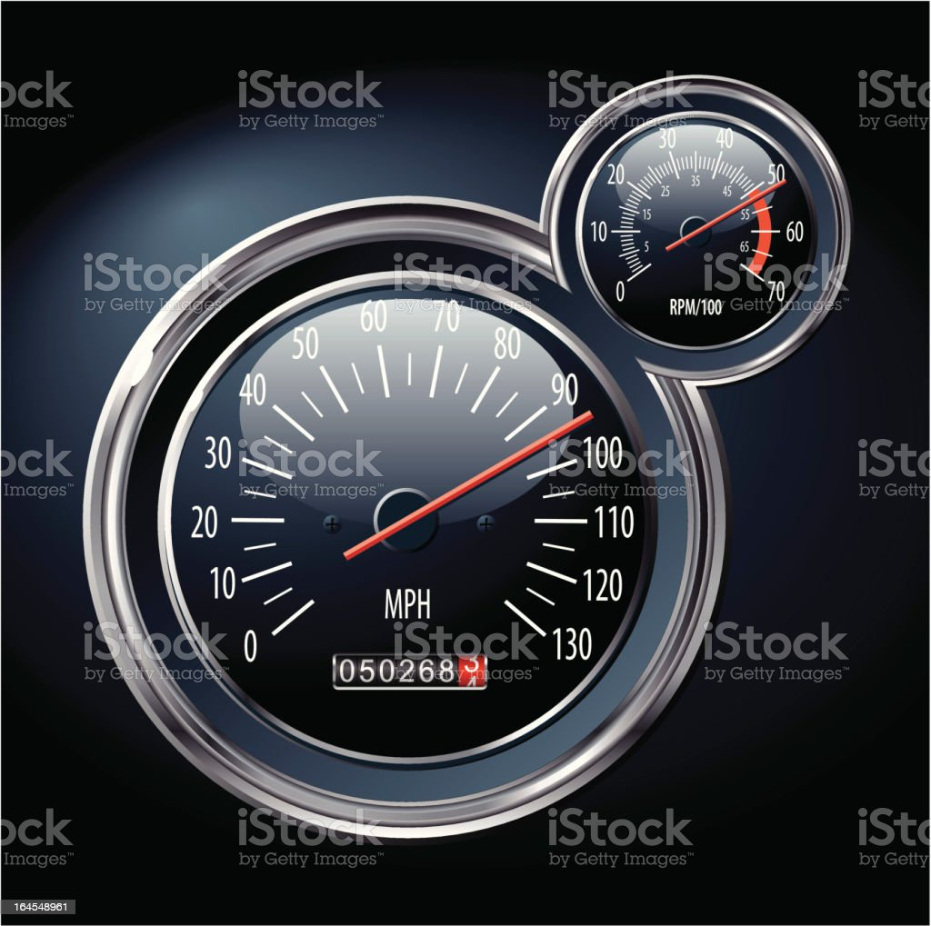 speedometer and rev counter vector art illustration