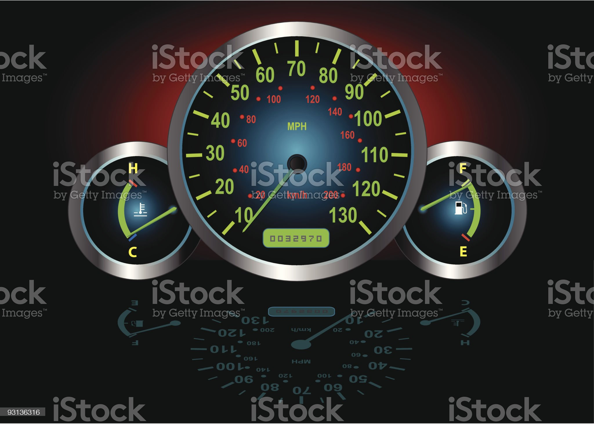 Speedometer, Fuel & Temperature Guage (Vector) royalty-free stock vector art