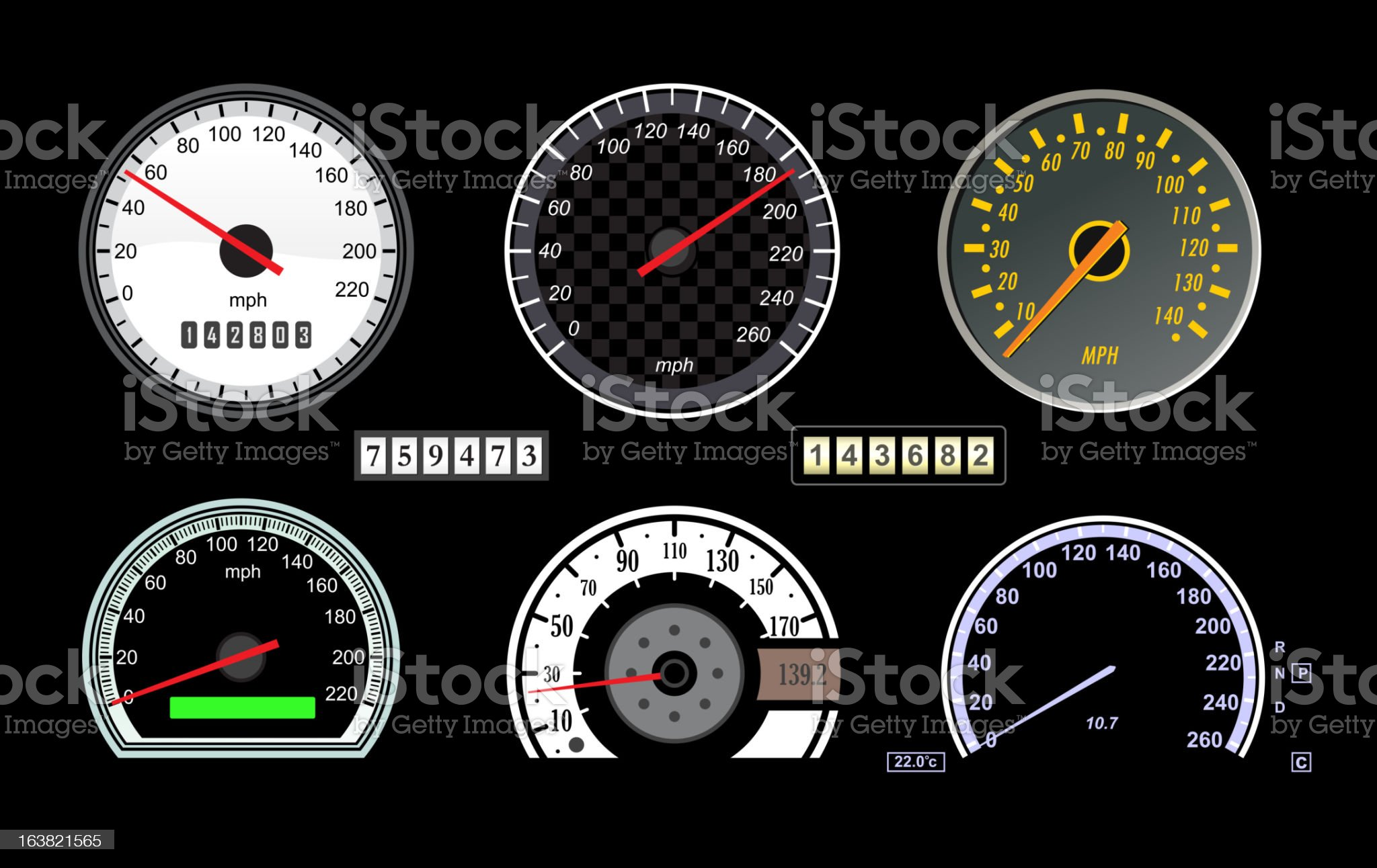 Speedometers royalty-free stock vector art