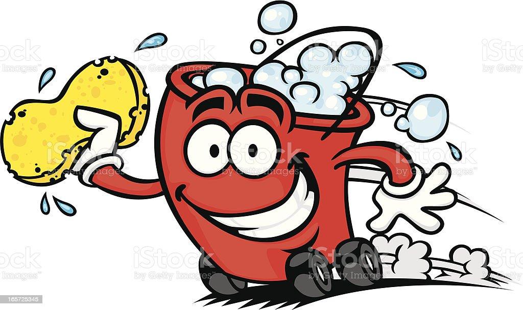 speedy car wash bucket vector art illustration