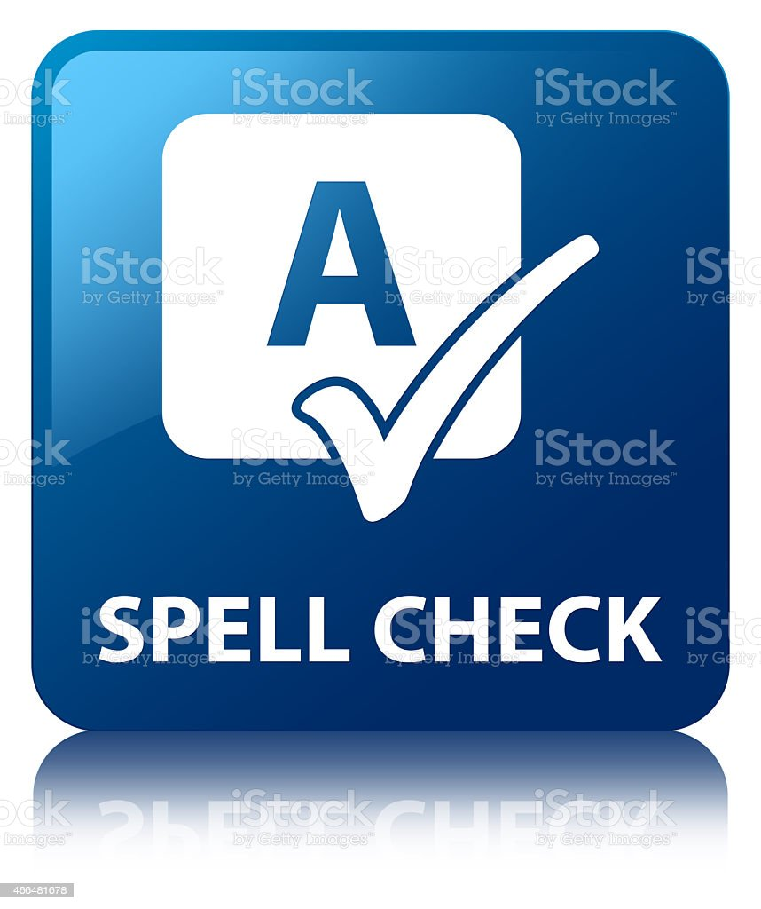 Spell check blue square button vector art illustration