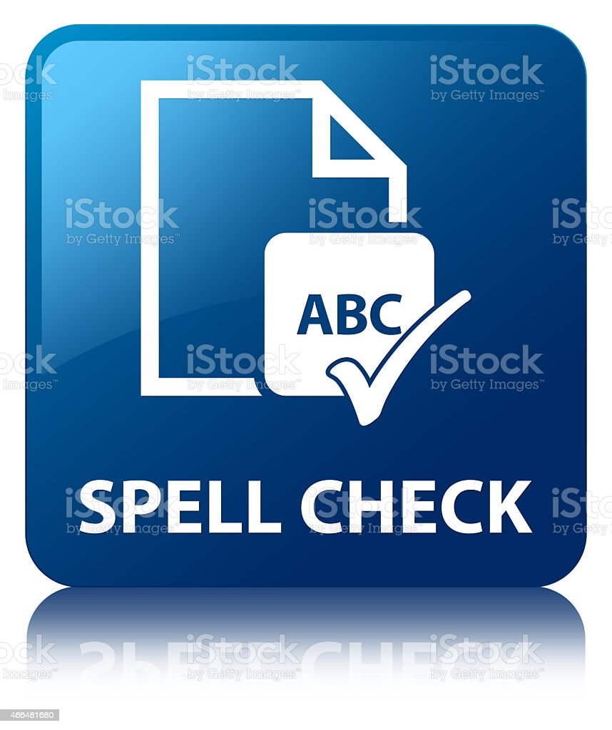 Spell check document blue square button vector art illustration