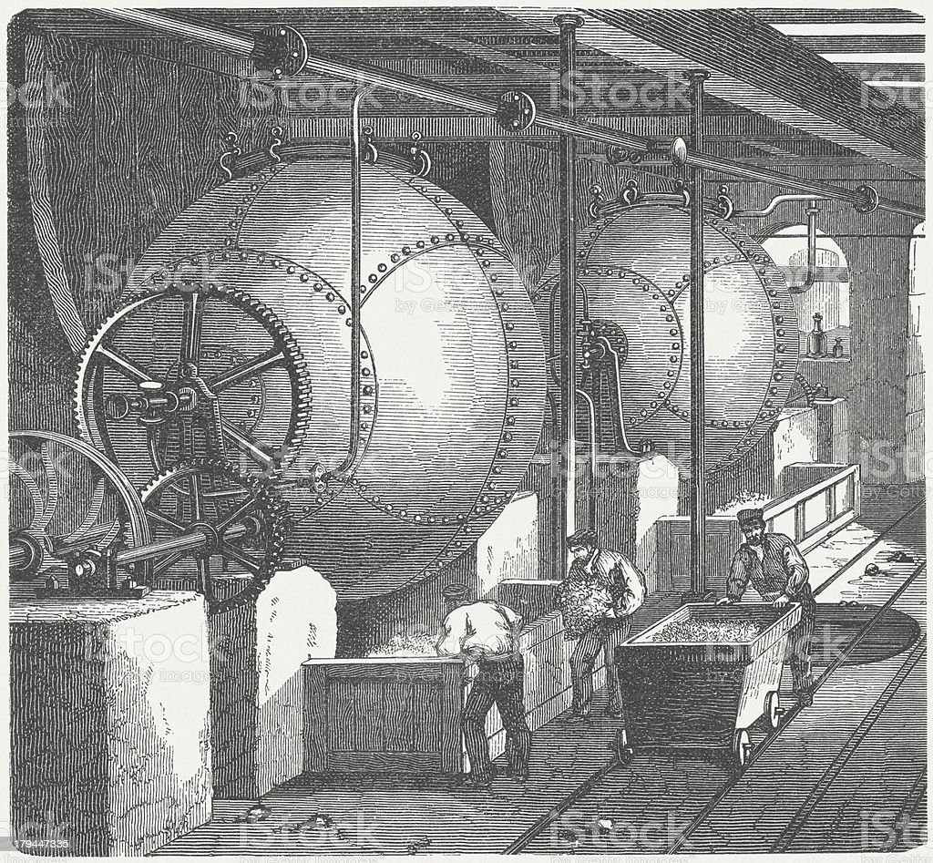 Spherical digester for papermaking, wood engraving, published in 1876 royalty-free stock vector art