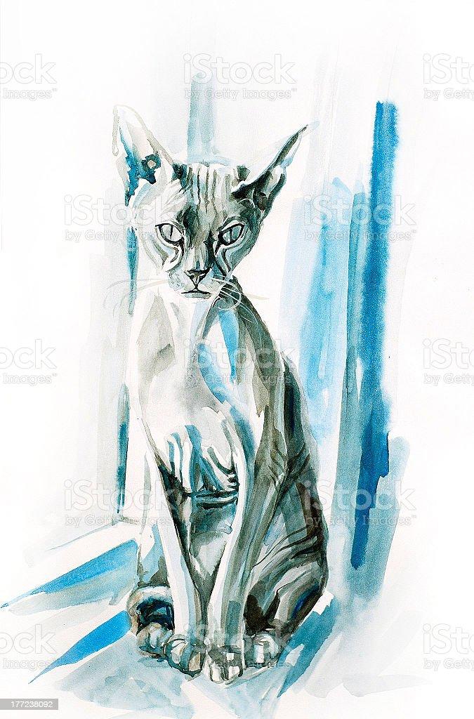 Sphinx Cat royalty-free stock vector art