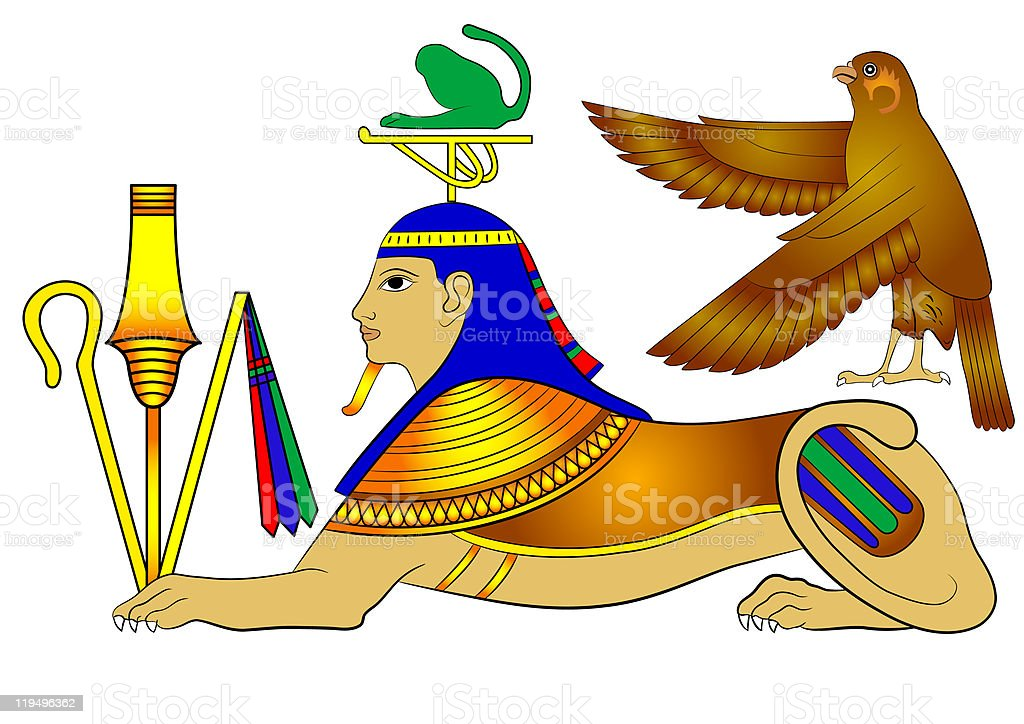 Sphinx - mythical creature of ancient Egypt royalty-free stock vector art