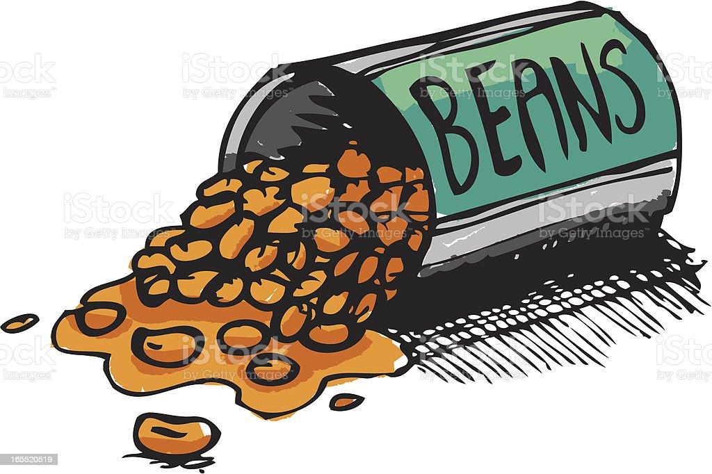 Spilling the beans vector art illustration